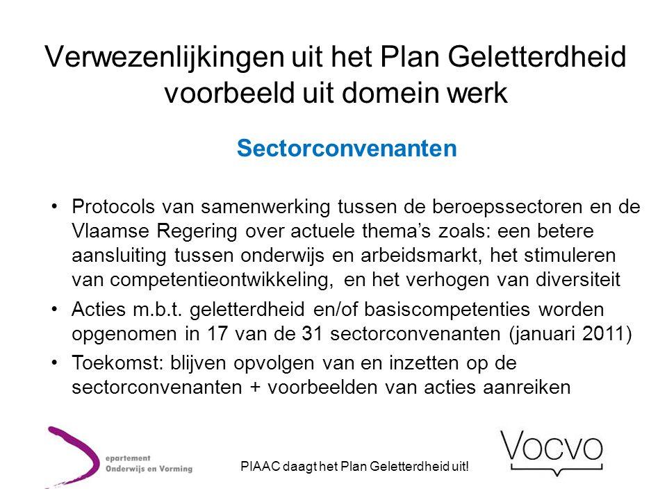Verwezenlijkingen uit het Plan Geletterdheid voorbeeld uit domein werk