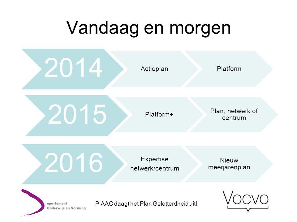 2014 2015 2016 Vandaag en morgen Actieplan Platform Platform+