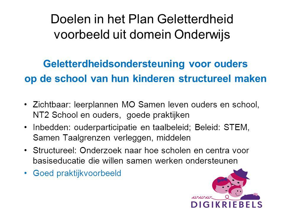 Doelen in het Plan Geletterdheid voorbeeld uit domein Onderwijs
