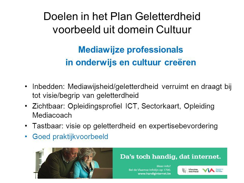 Doelen in het Plan Geletterdheid voorbeeld uit domein Cultuur