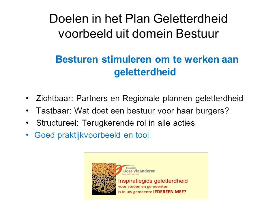 Doelen in het Plan Geletterdheid voorbeeld uit domein Bestuur