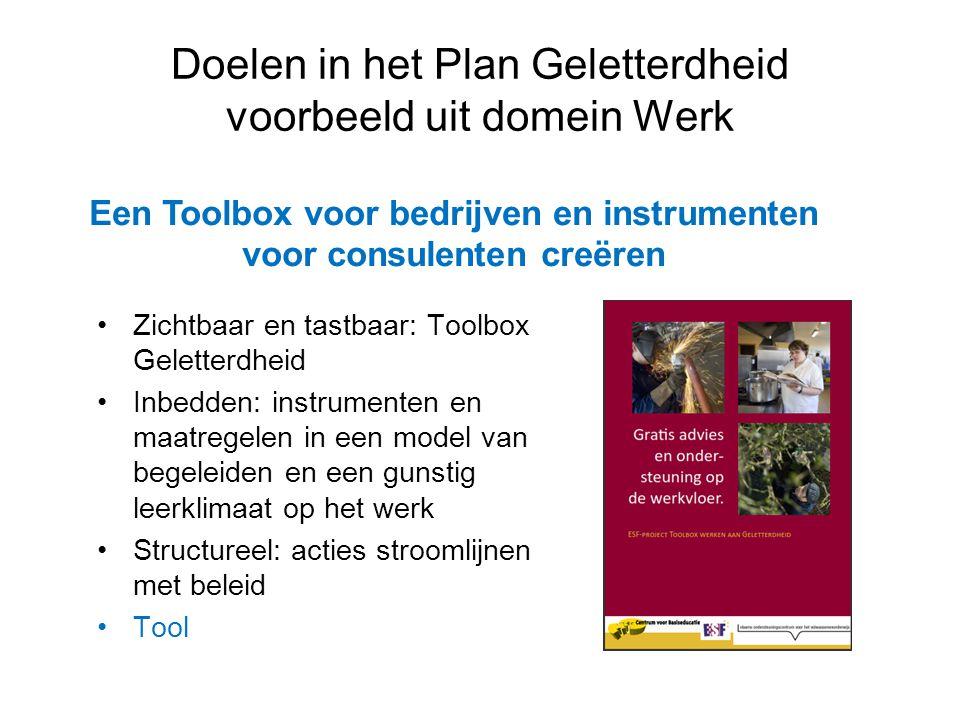 Doelen in het Plan Geletterdheid voorbeeld uit domein Werk