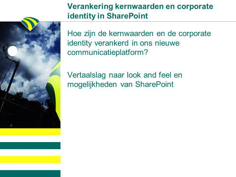 Verankering kernwaarden en corporate identity in SharePoint