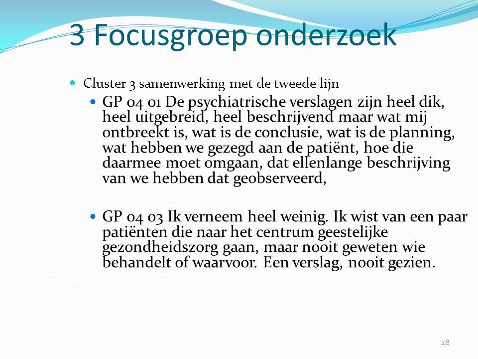 3 Focusgroep onderzoek Cluster 3 samenwerking met de tweede lijn.