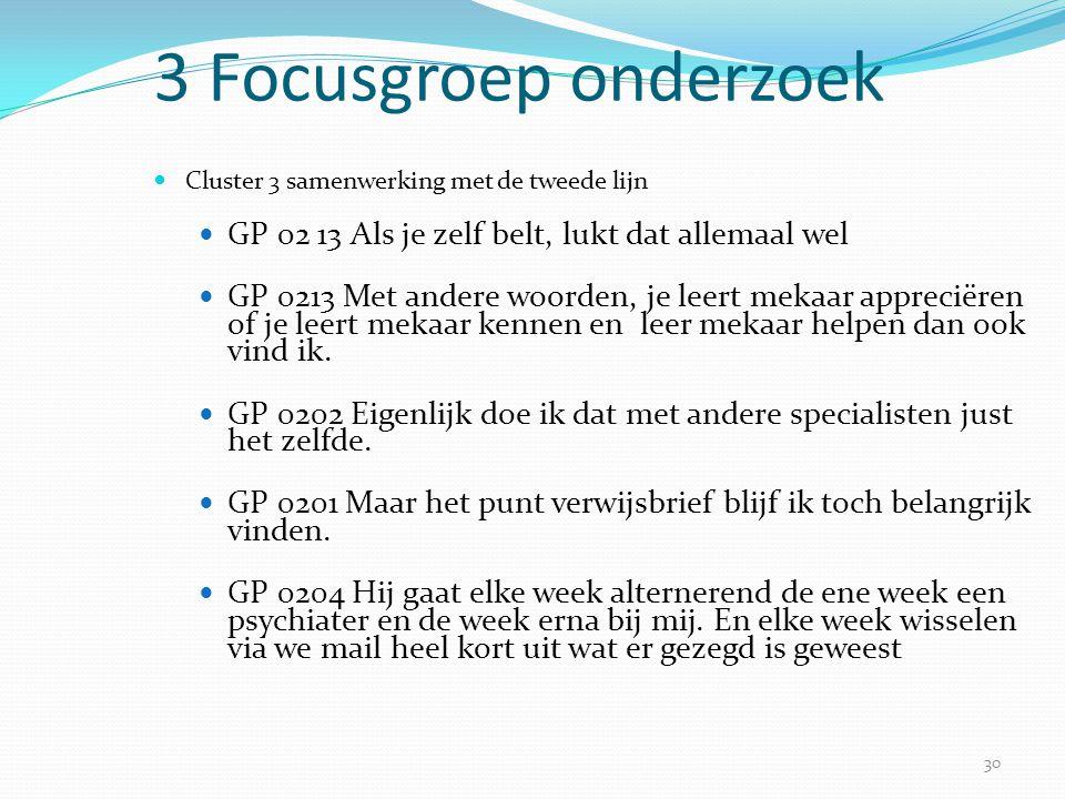 3 Focusgroep onderzoek Cluster 3 samenwerking met de tweede lijn. GP 02 13 Als je zelf belt, lukt dat allemaal wel.
