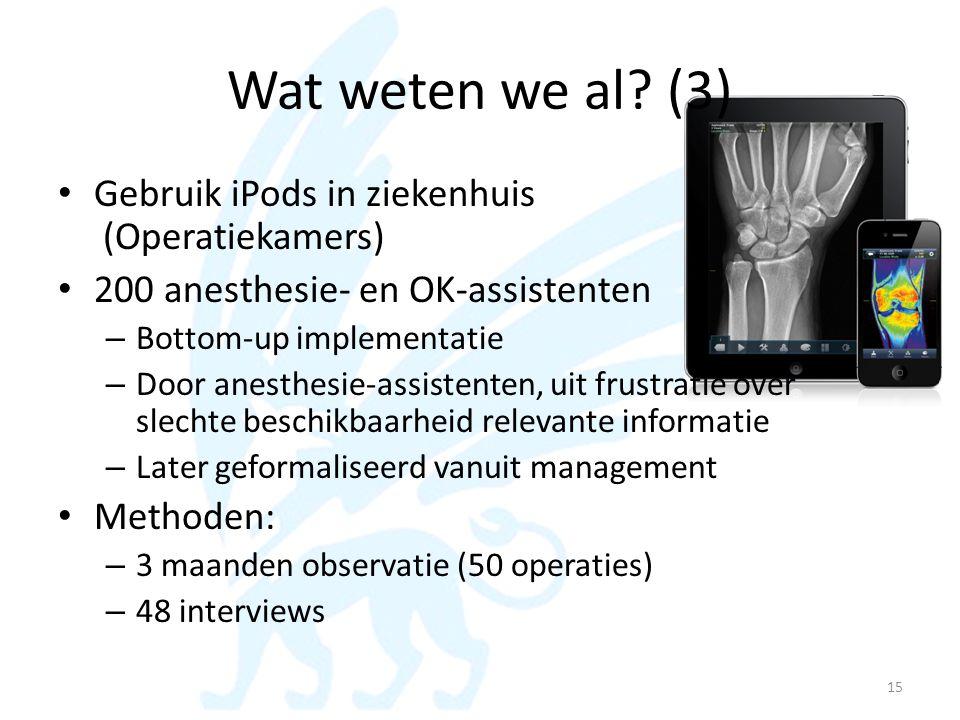 Wat weten we al (3) Gebruik iPods in ziekenhuis (Operatiekamers)