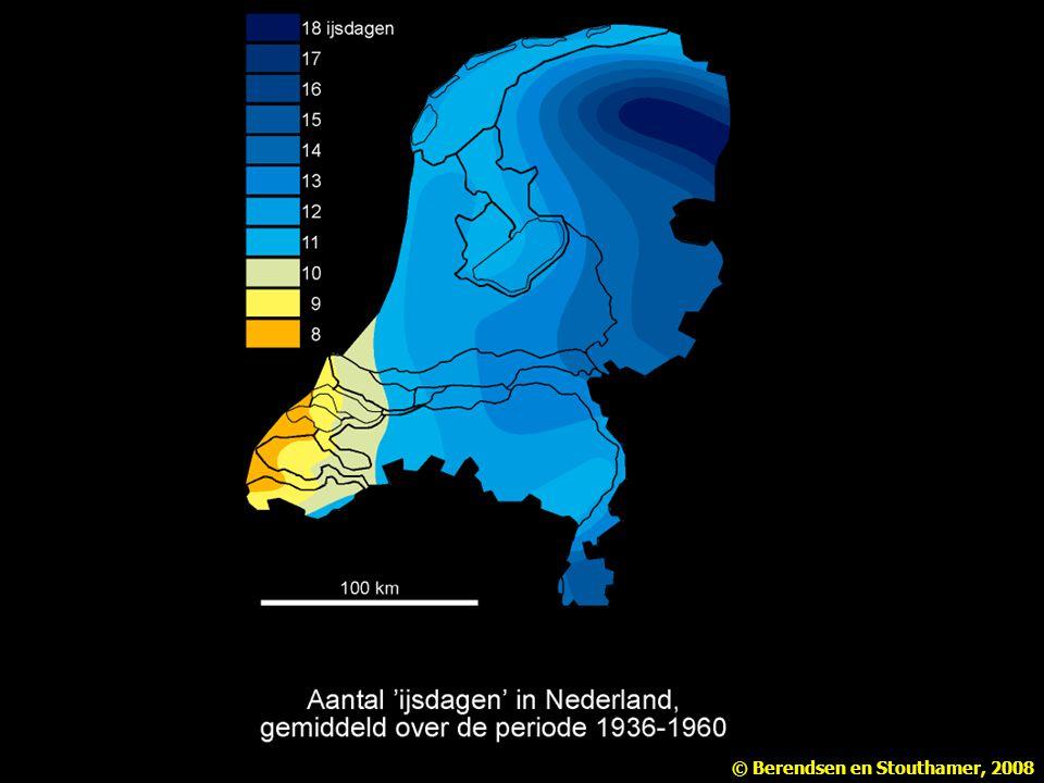 Figuur 2.5 Aantal 'ijsdagen' in Nederland, gemiddeld over de periode 1931-1960 (naar Klimaatatlas van Nederland). Uit Berendsen Landschap in delen 1e-3e druk.