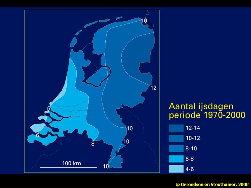 Figuur 2.5 Aantal 'ijsdagen' in Nederland, gemiddeld over de periode 1931-1960 (naar Klimaatatlas van Nederland).