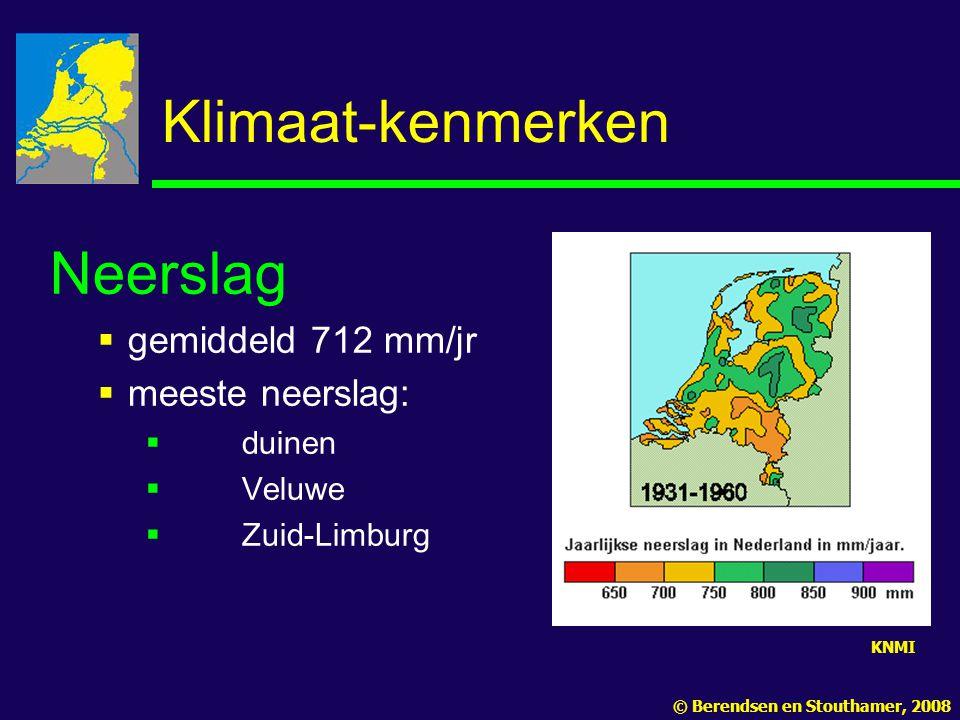 Klimaat-kenmerken Neerslag gemiddeld 712 mm/jr meeste neerslag: duinen