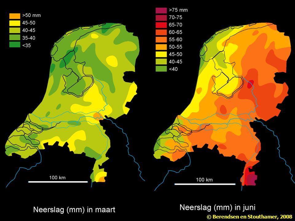Figuur 2.7 Neerslag (in mm) in Nederland, periode 1931-1960 (naar Klimaatatlas van Nederland). Uit Berendsen Landschap in delen 1e-3e druk.