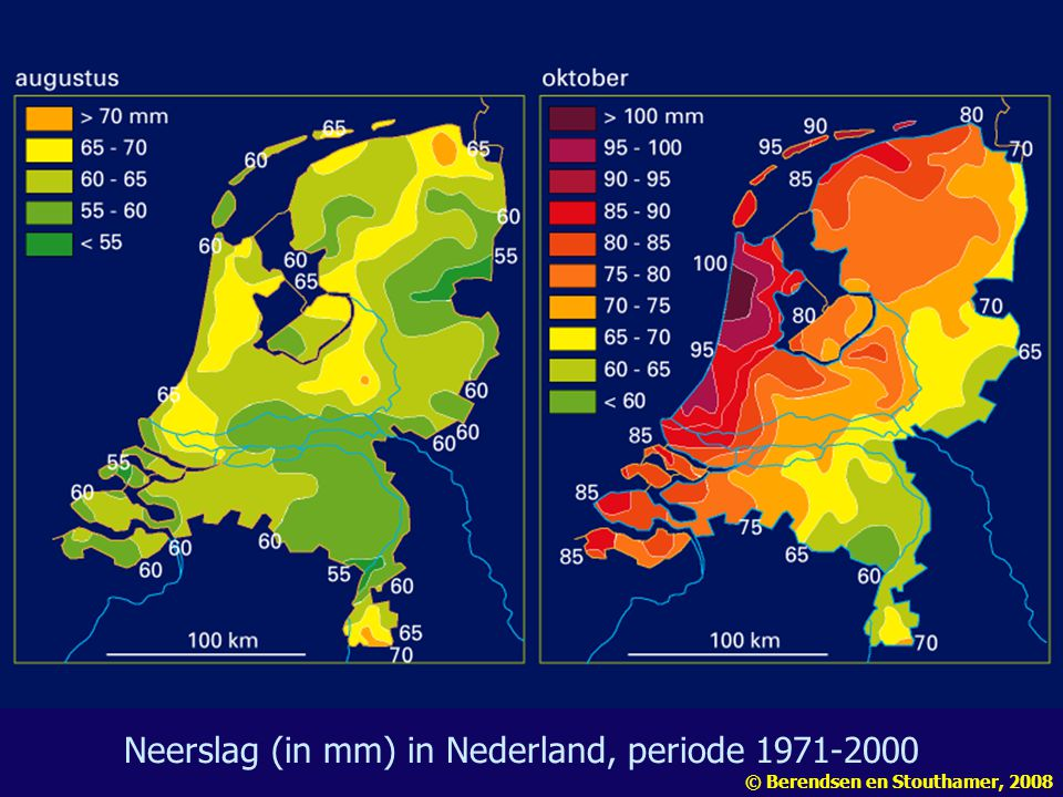 Neerslag (in mm) in Nederland, periode 1971-2000