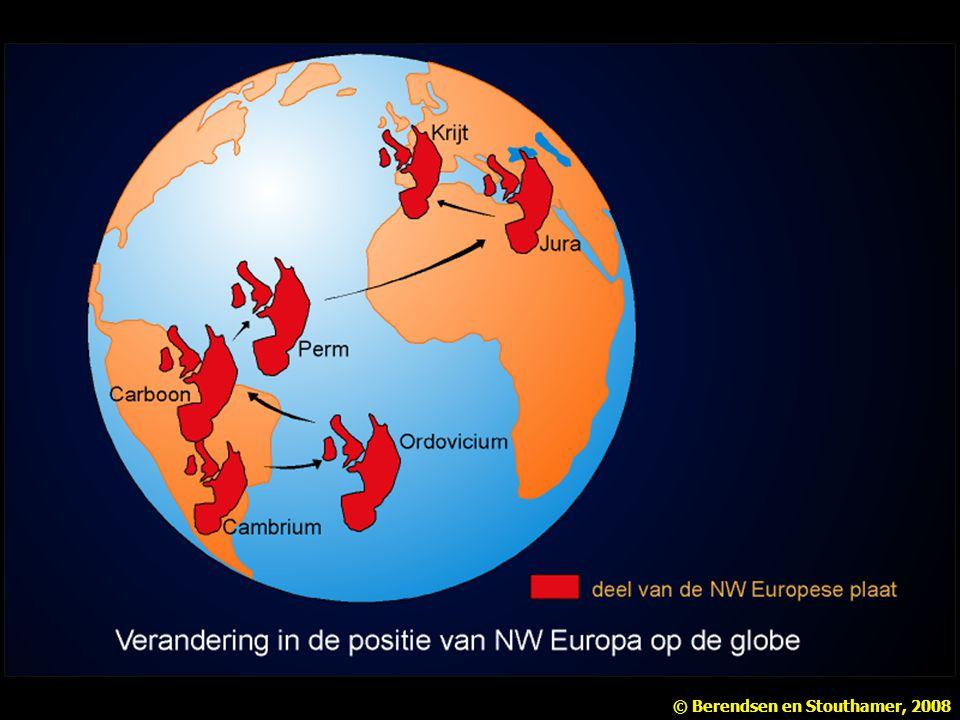 De plaat waarop Nederland ligt, is in de loop van de tijd door verschillende klimaatzones geschoven. Naar Wetenschappelijke Atlas van Nederland.