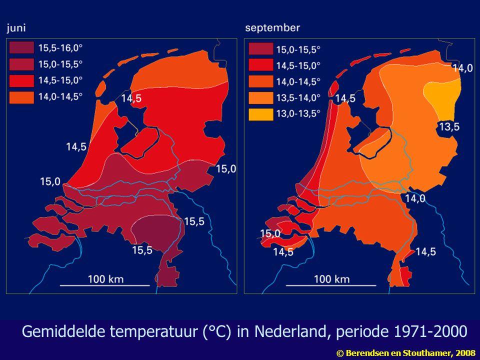 Gemiddelde temperatuur (°C) in Nederland, periode 1971-2000
