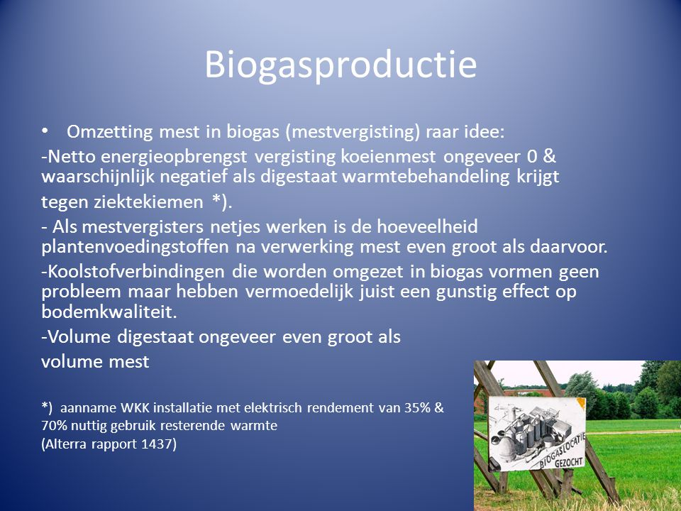 Biogasproductie Omzetting mest in biogas (mestvergisting) raar idee: