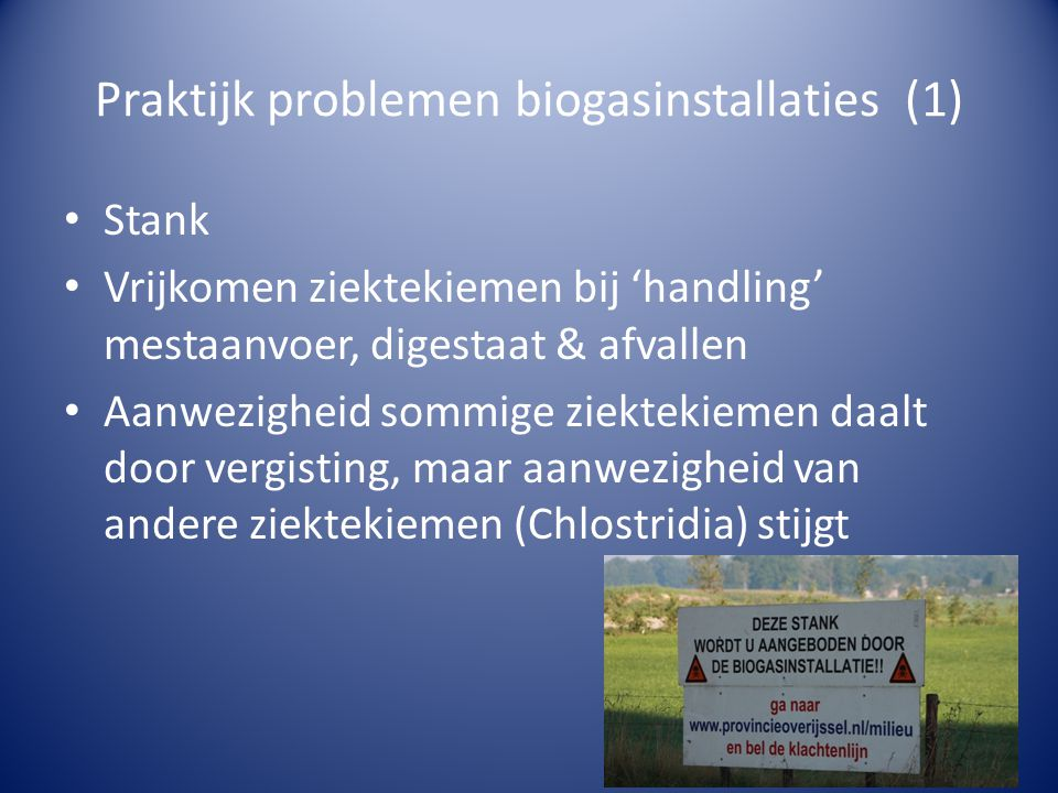 Praktijk problemen biogasinstallaties (1)