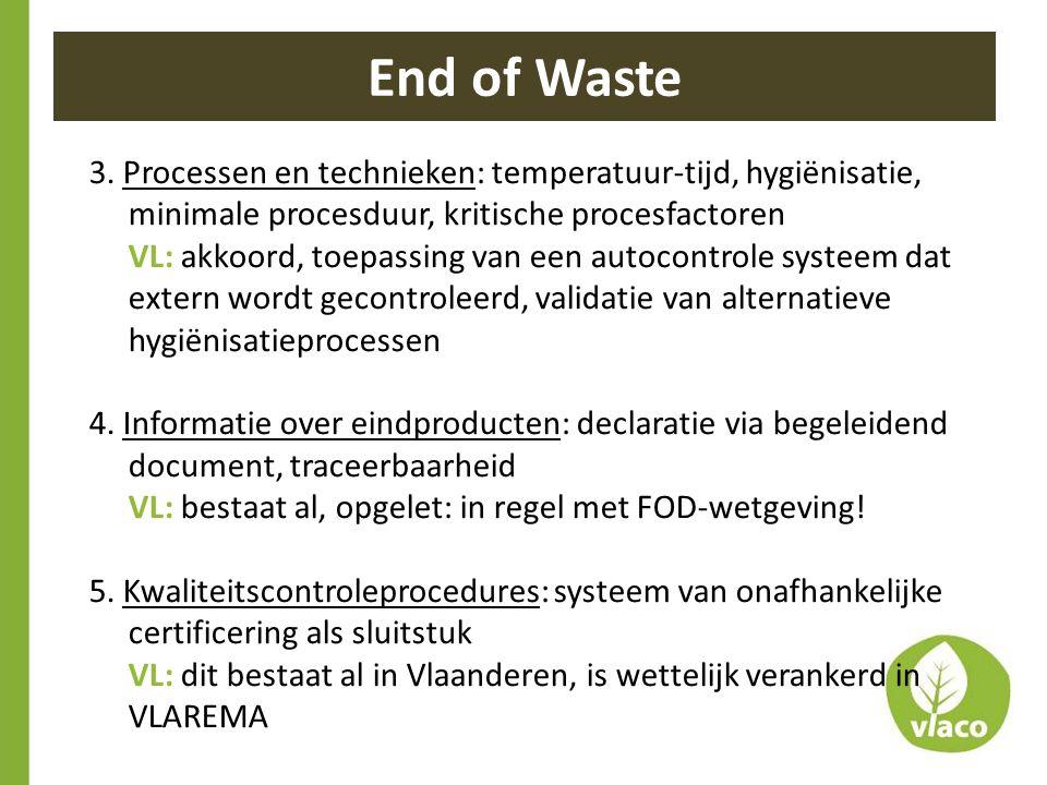 End of Waste 3. Processen en technieken: temperatuur-tijd, hygiënisatie, minimale procesduur, kritische procesfactoren.