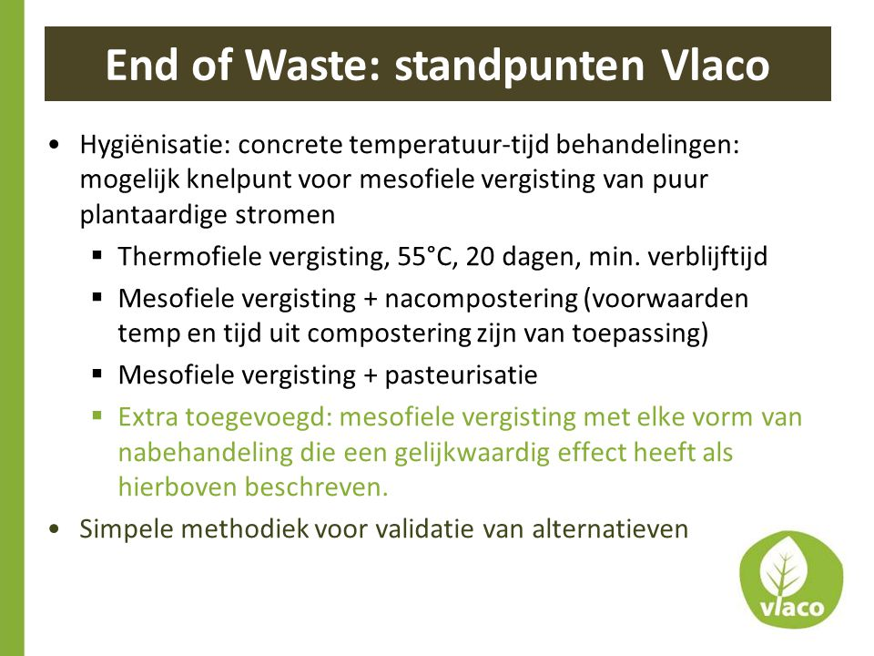 End of Waste: standpunten Vlaco