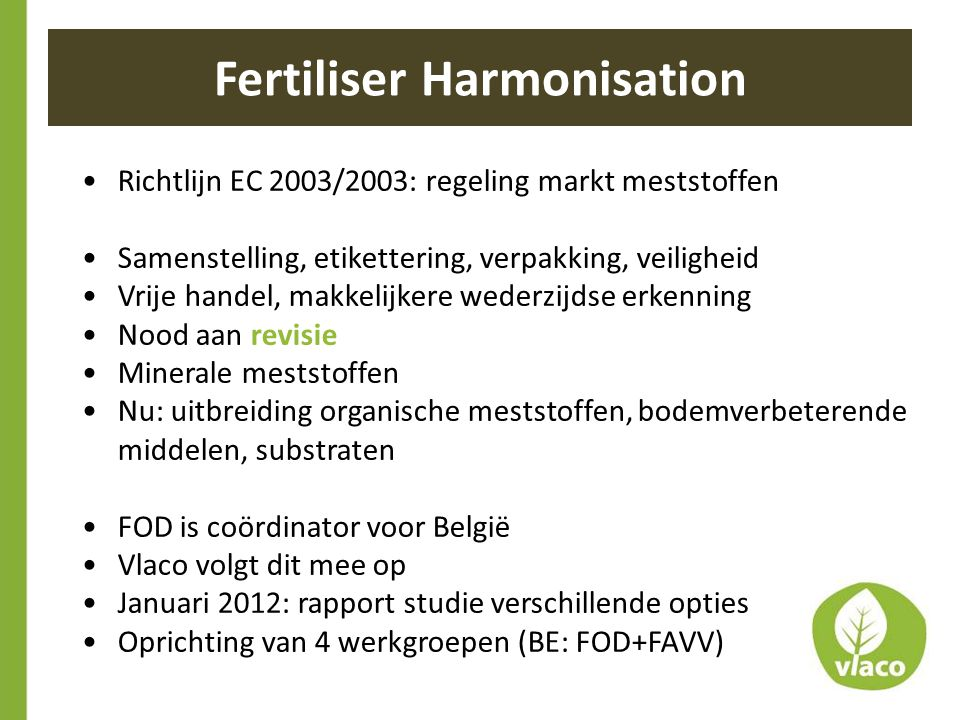 Fertiliser Harmonisation