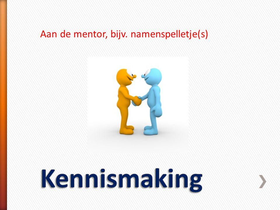 Aan de mentor, bijv. namenspelletje(s)