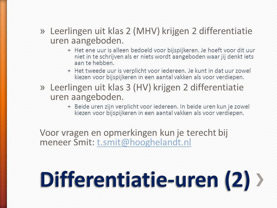 Differentiatie-uren (2)