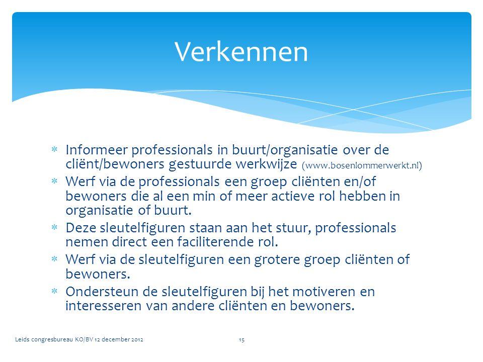 Verkennen Informeer professionals in buurt/organisatie over de cliënt/bewoners gestuurde werkwijze (www.bosenlommerwerkt.nl)