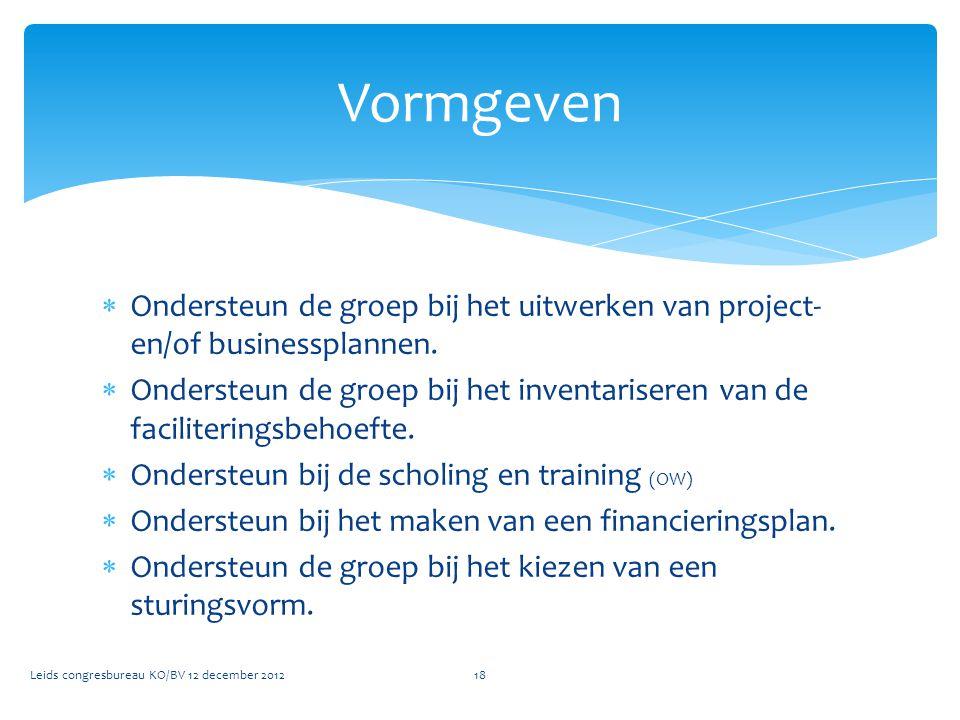 Vormgeven Ondersteun de groep bij het uitwerken van project- en/of businessplannen.