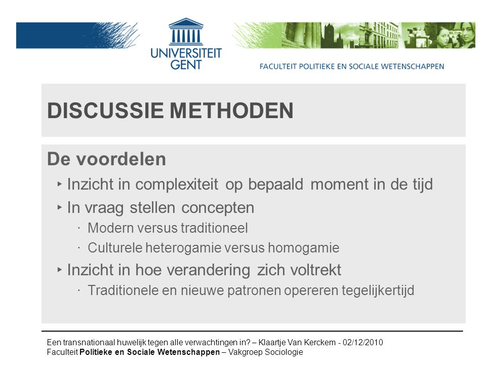 Discussie methoden De voordelen
