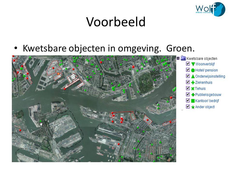 Voorbeeld Kwetsbare objecten in omgeving. Groen.