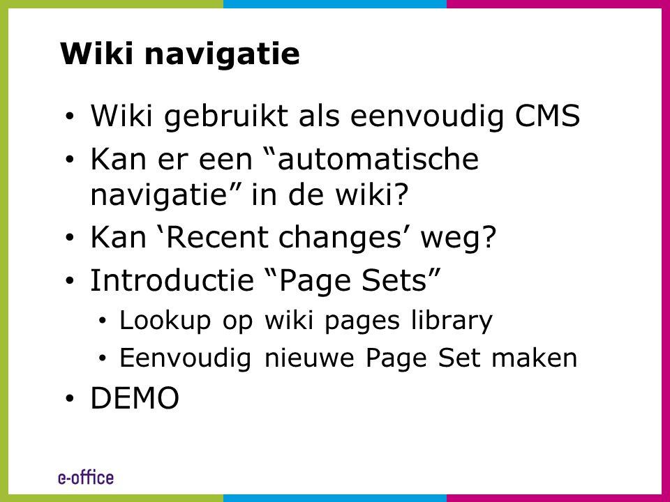 Wiki gebruikt als eenvoudig CMS