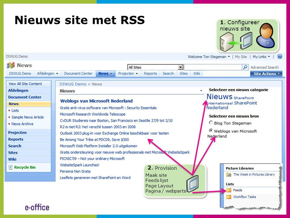 Nieuws site met RSS 1. Configureer nieuws site 2. Provision Maak site