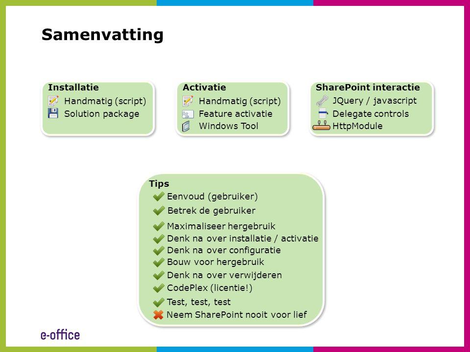 Samenvatting Installatie Activatie SharePoint interactie