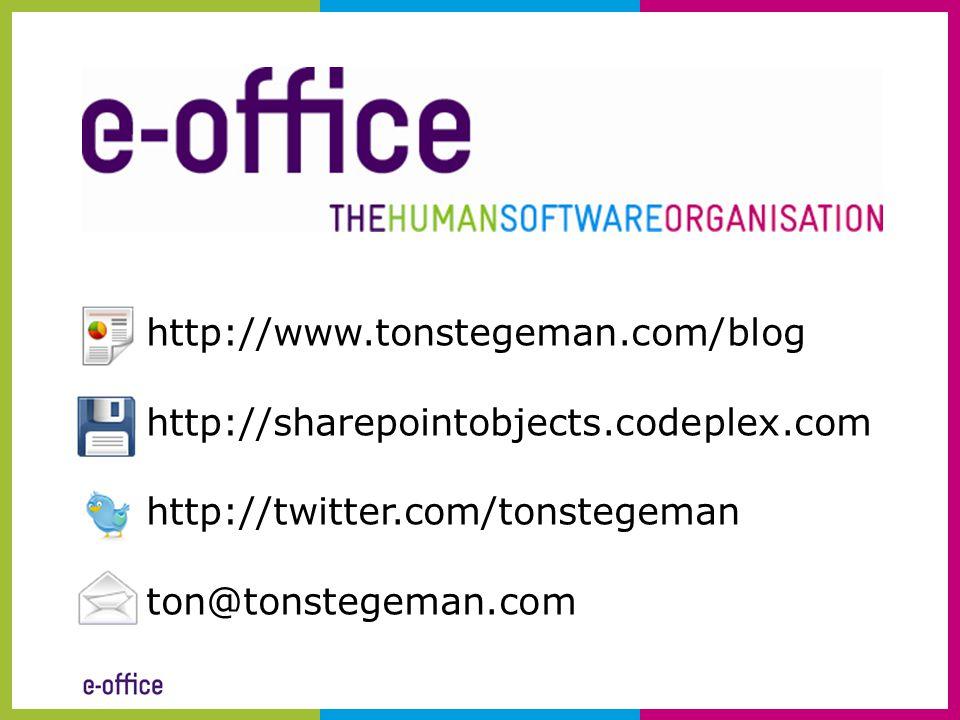 http://www.tonstegeman.com/blog http://sharepointobjects.codeplex.com. http://twitter.com/tonstegeman.
