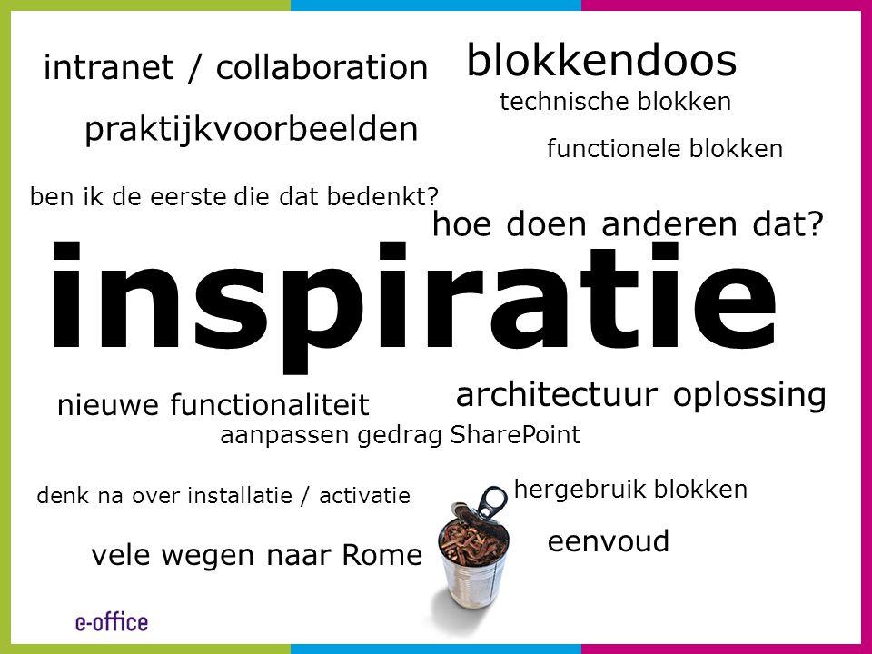 inspiratie blokkendoos intranet / collaboration praktijkvoorbeelden