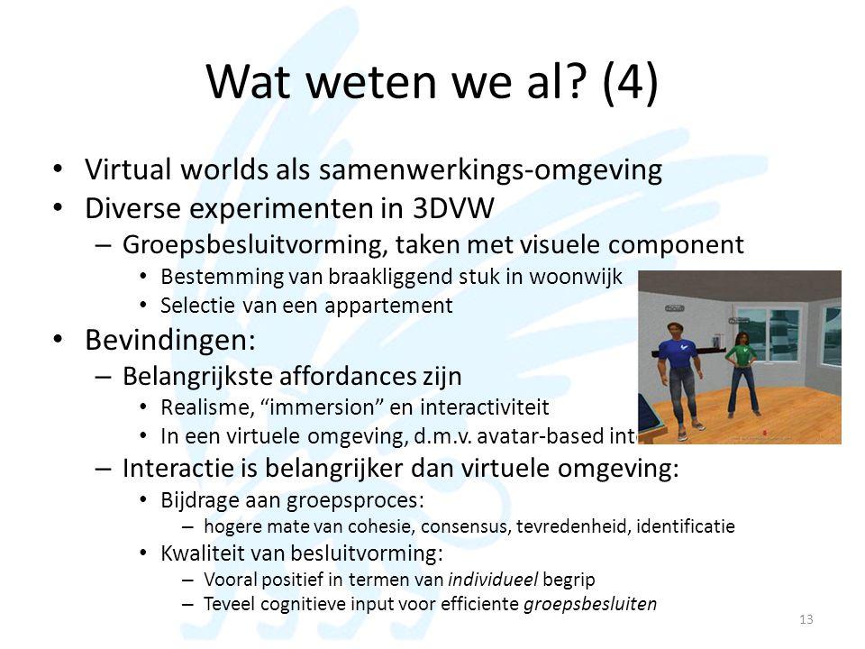 Wat weten we al (4) Virtual worlds als samenwerkings-omgeving