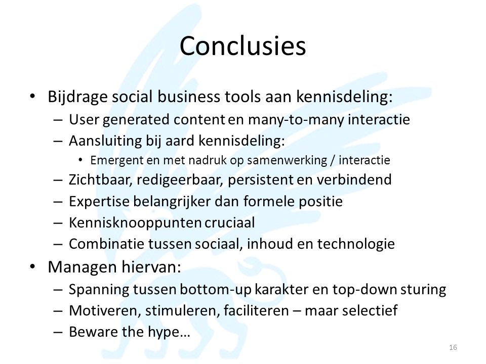 Conclusies Bijdrage social business tools aan kennisdeling: