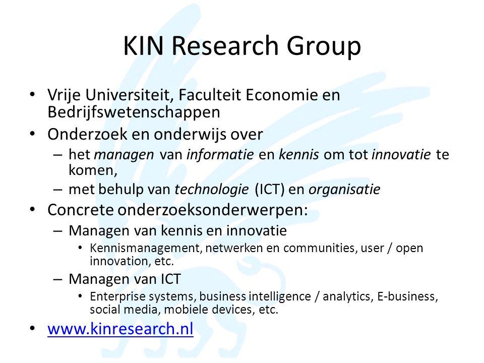 KIN Research Group Vrije Universiteit, Faculteit Economie en Bedrijfswetenschappen. Onderzoek en onderwijs over.