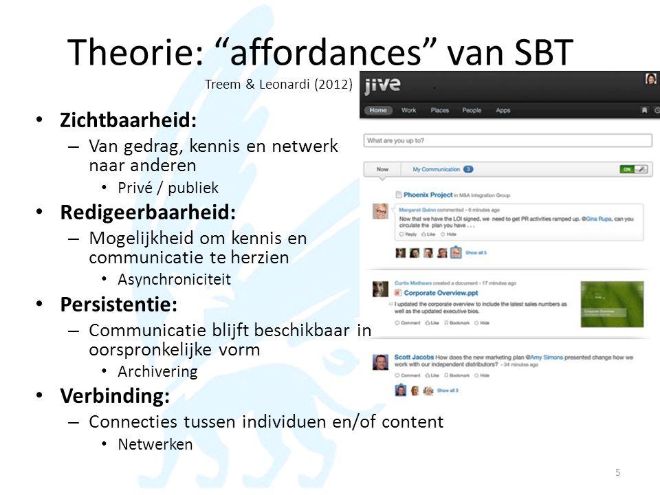 Theorie: affordances van SBT Treem & Leonardi (2012) .