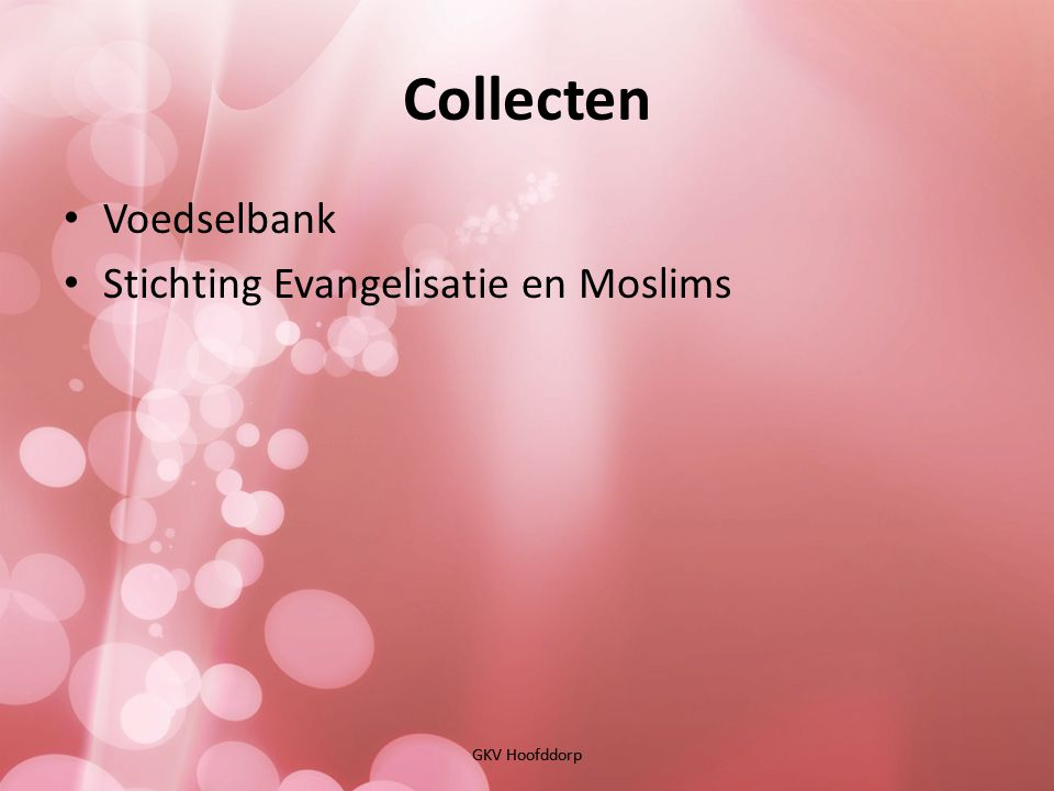 Collecten Voedselbank Stichting Evangelisatie en Moslims GKV Hoofddorp