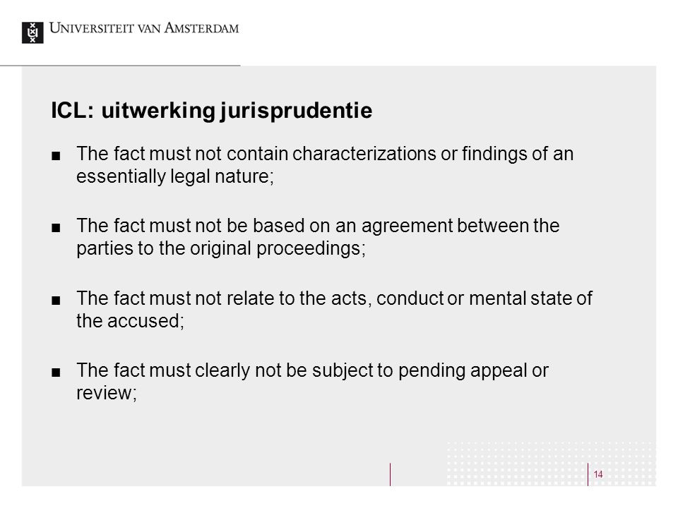 ICL: uitwerking jurisprudentie