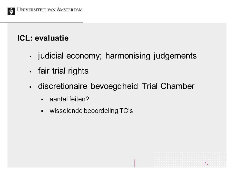 judicial economy; harmonising judgements fair trial rights