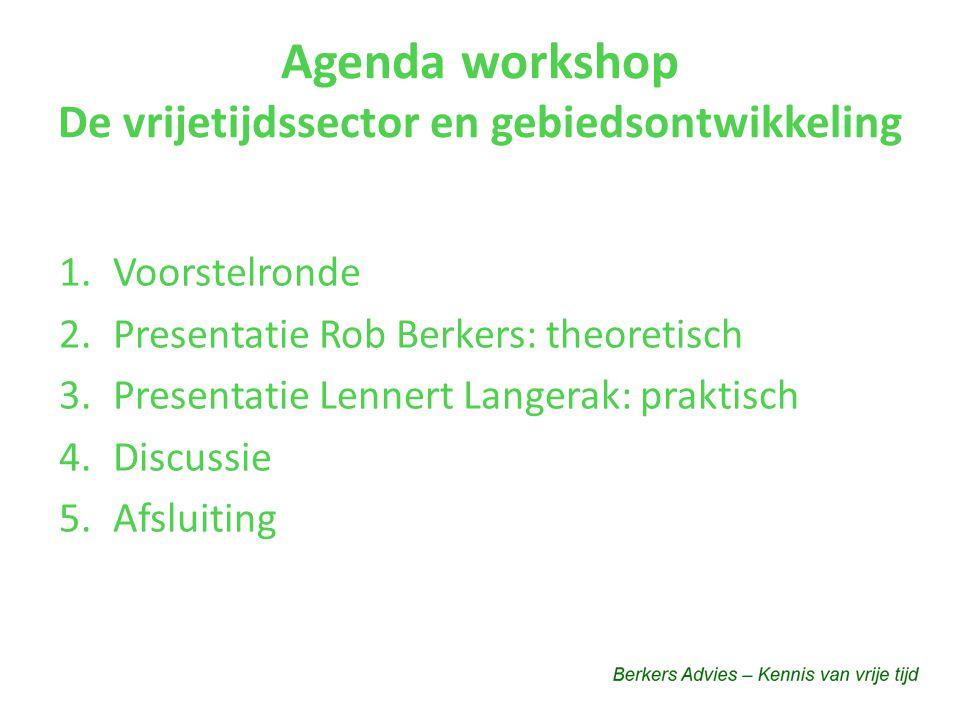 Agenda workshop De vrijetijdssector en gebiedsontwikkeling