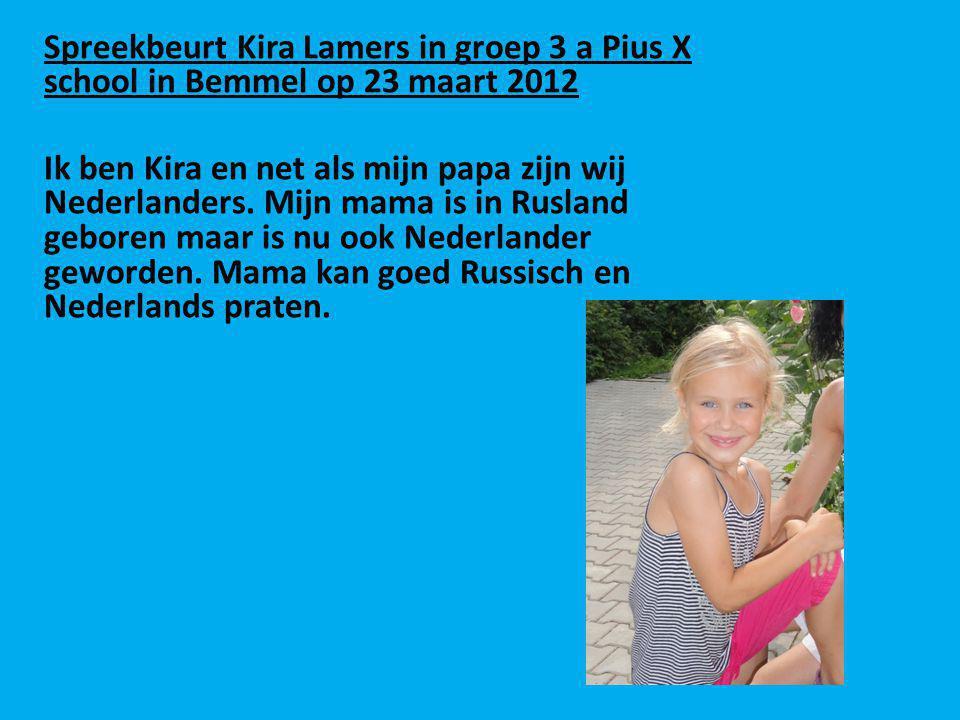 Spreekbeurt Kira Lamers in groep 3 a Pius X school in Bemmel op 23 maart 2012