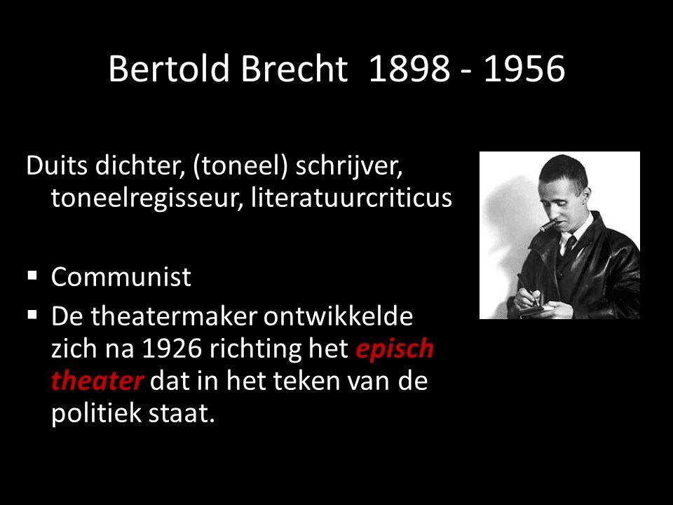 Bertold Brecht 1898 - 1956 Duits dichter, (toneel) schrijver, toneelregisseur, literatuurcriticus.