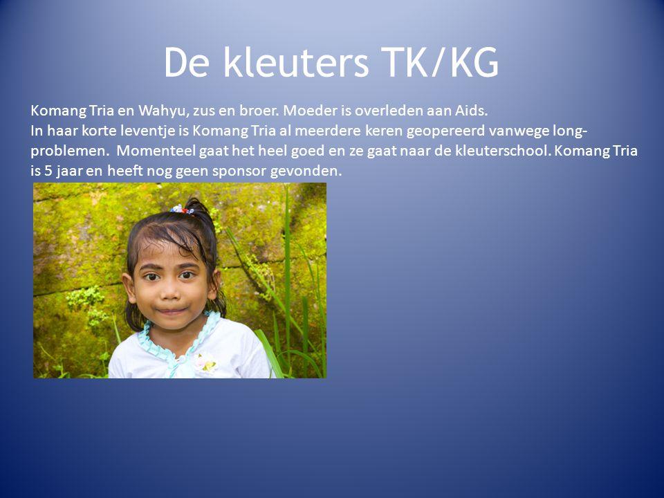 De kleuters TK/KG Komang Tria en Wahyu, zus en broer. Moeder is overleden aan Aids.