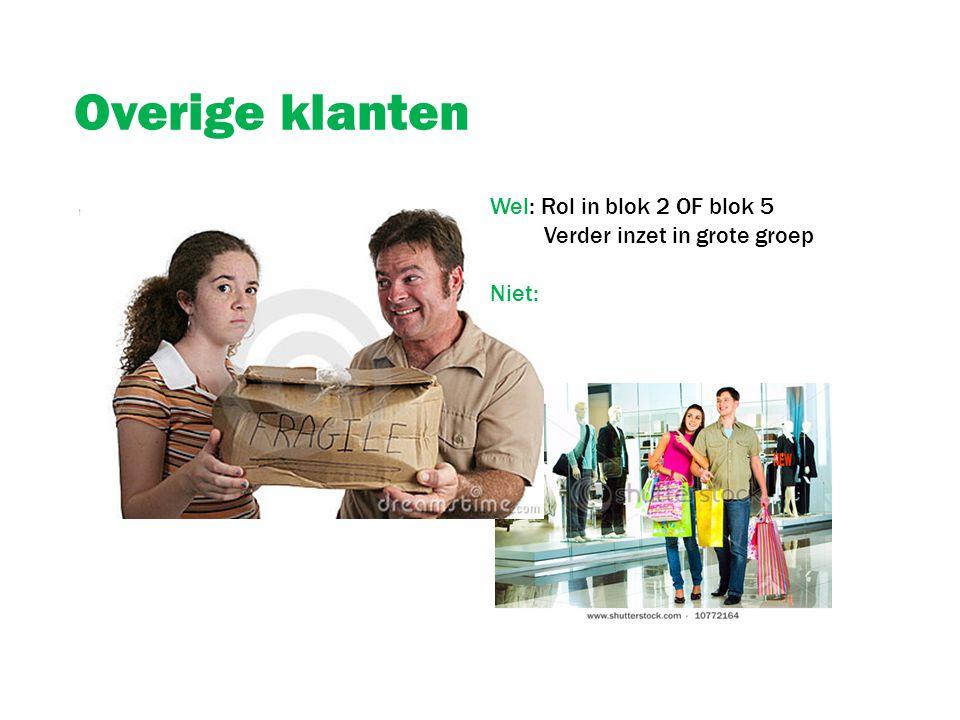 Overige klanten Wel: Rol in blok 2 OF blok 5