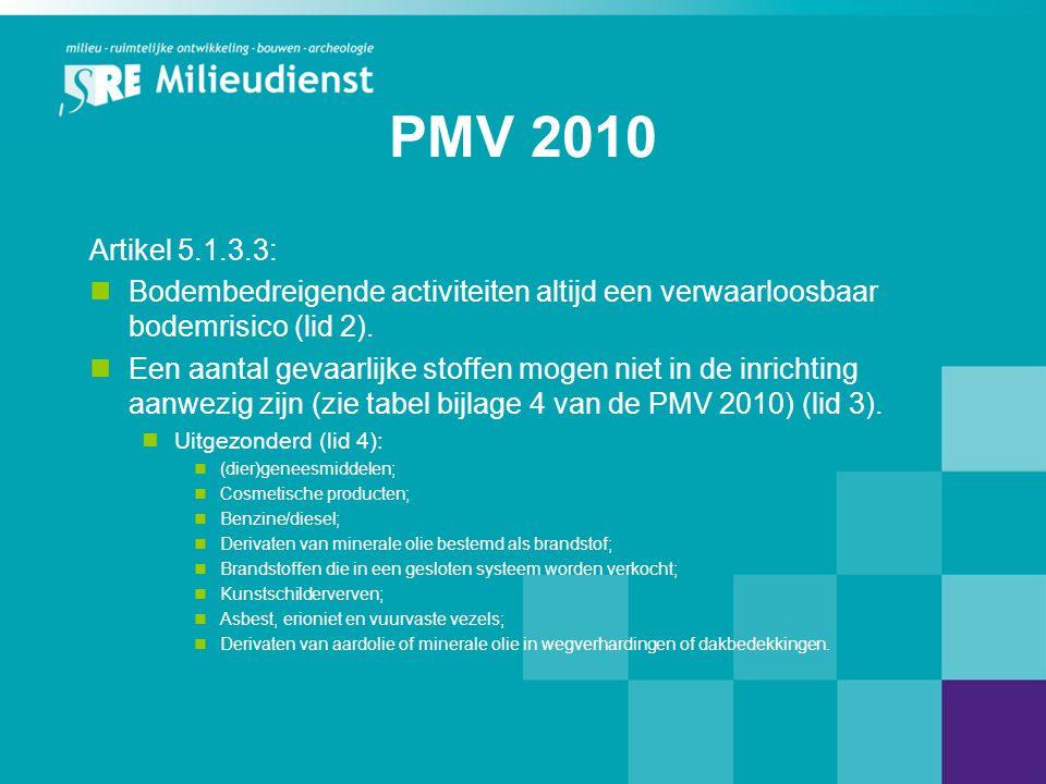 PMV 2010 Artikel 5.1.3.3: Bodembedreigende activiteiten altijd een verwaarloosbaar bodemrisico (lid 2).