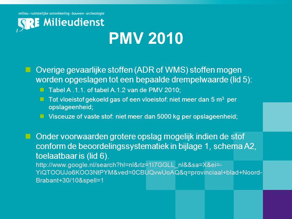 PMV 2010 Overige gevaarlijke stoffen (ADR of WMS) stoffen mogen worden opgeslagen tot een bepaalde drempelwaarde (lid 5):