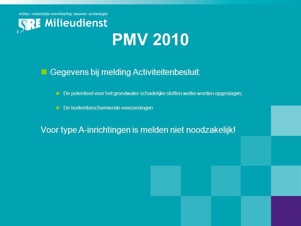 PMV 2010 Gegevens bij melding Activiteitenbesluit:
