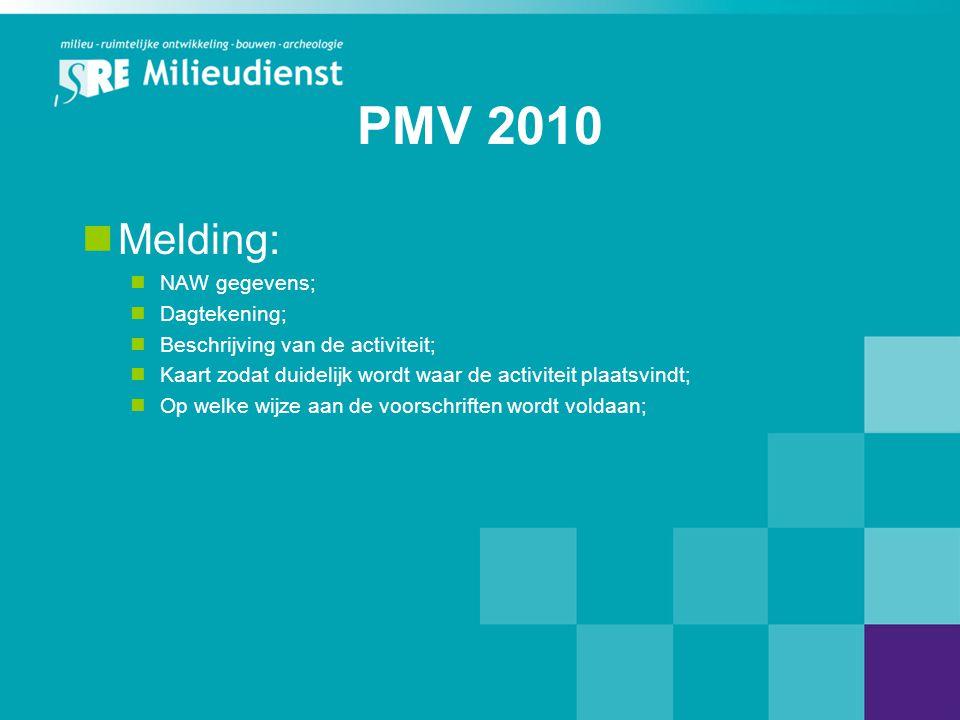 PMV 2010 Melding: NAW gegevens; Dagtekening;