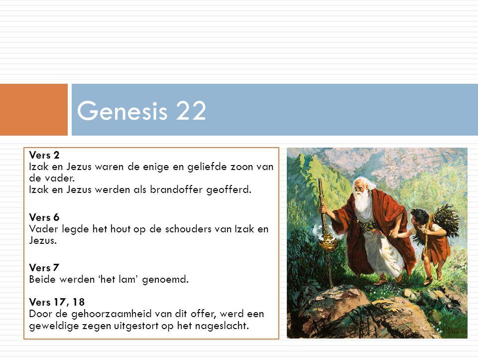 Genesis 22 Vers 2 Izak en Jezus waren de enige en geliefde zoon van de vader. Izak en Jezus werden als brandoffer geofferd.